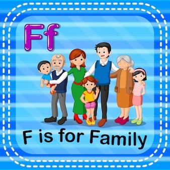 Flashcard-buchstabe f ist für familie