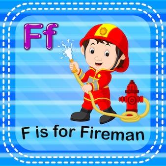 Flashcard-buchstabe f ist für feuerwehrmann