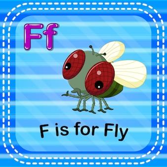 Flashcard-buchstabe f ist für fliege