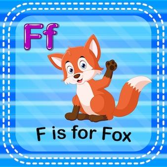 Flashcard-buchstabe f ist für fuchs