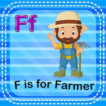 Flashcard-buchstabe f ist für landwirt
