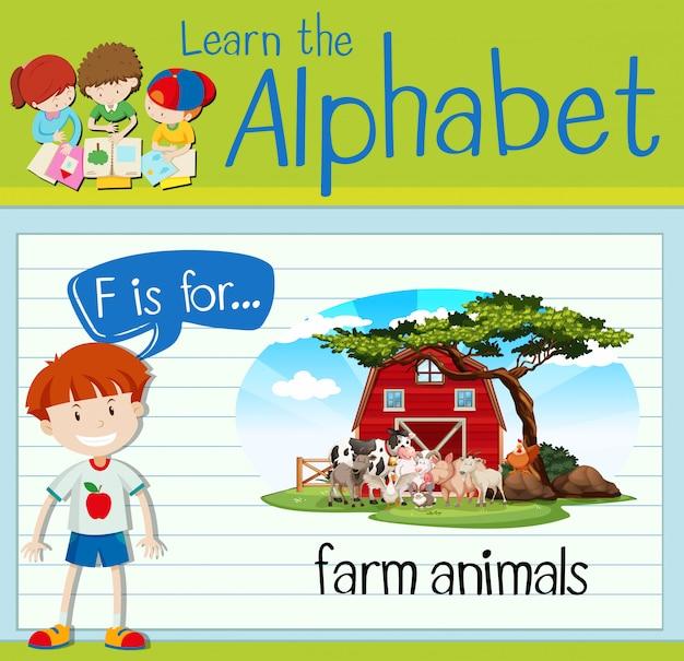 Flashcard buchstabe f ist für nutztiere