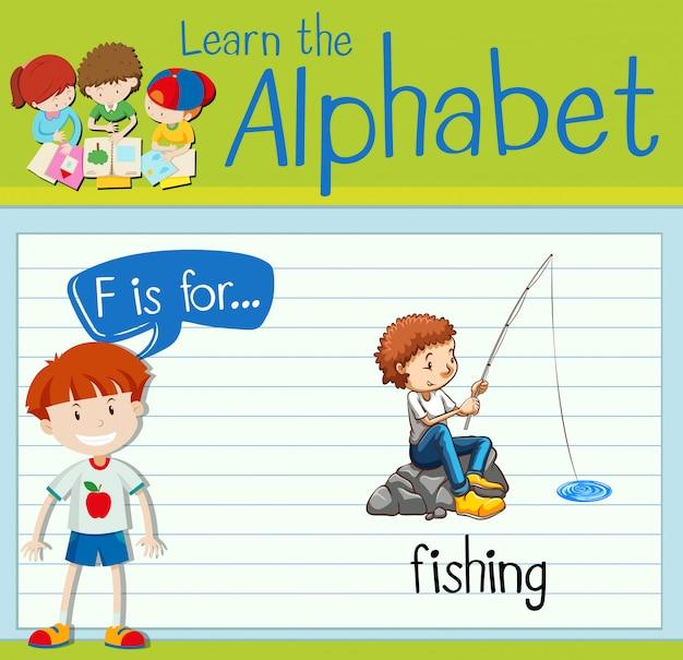 Flashcard buchstabe f ist zum angeln