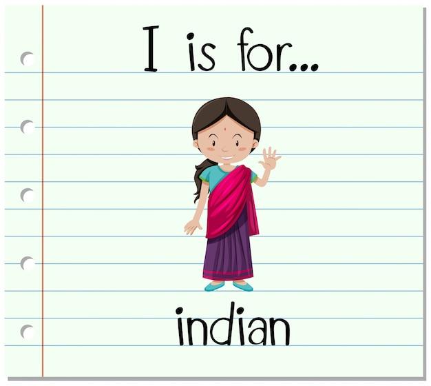Flashcard-buchstabe i ist für inder