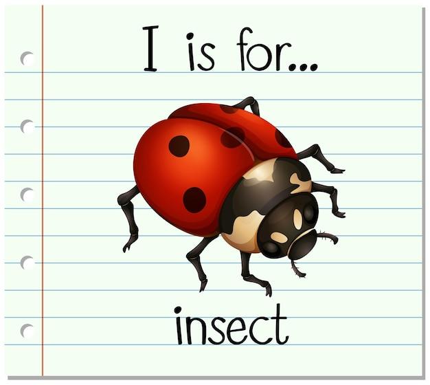 Flashcard-buchstabe i ist für insekten