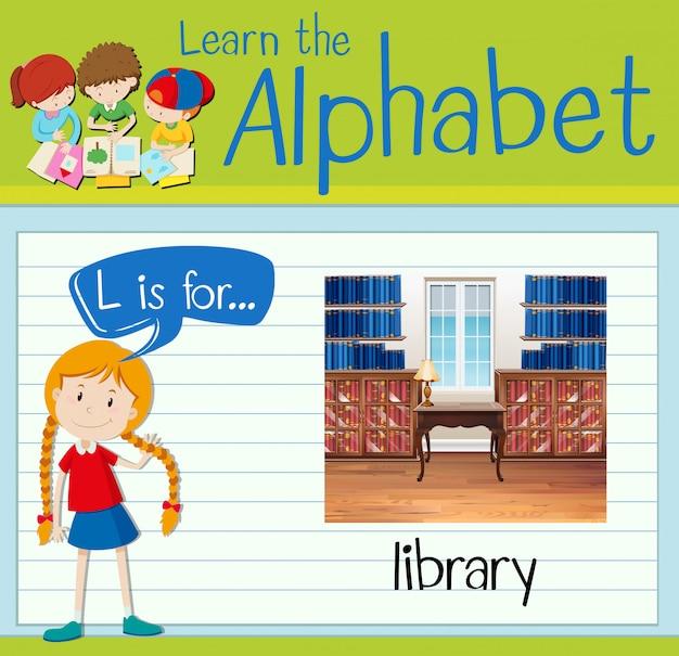 Flashcard-buchstabe l ist für die bibliothek