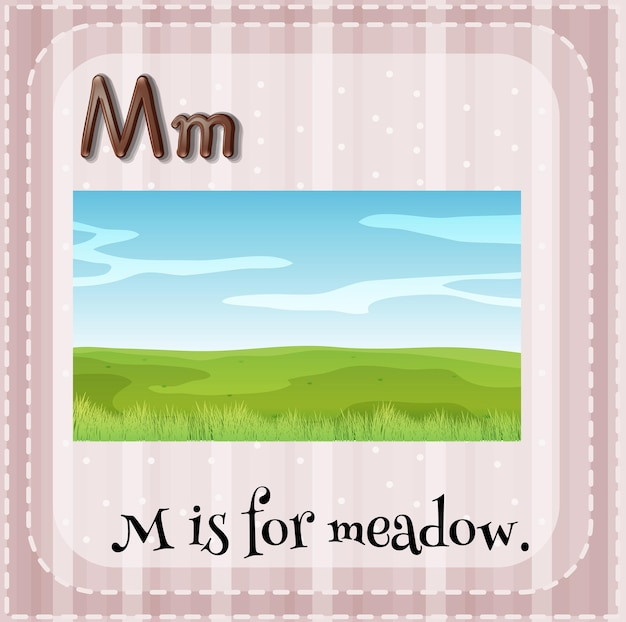 Flashcard-buchstabe m steht für wiese