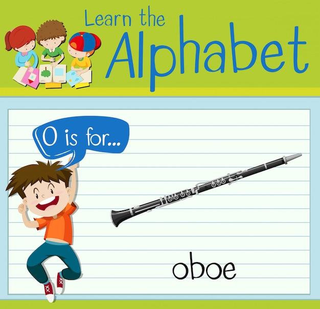 Flashcard buchstabe o ist für oboe