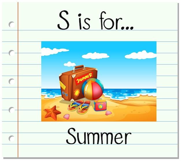 Flashcard buchstabe s ist für den sommer