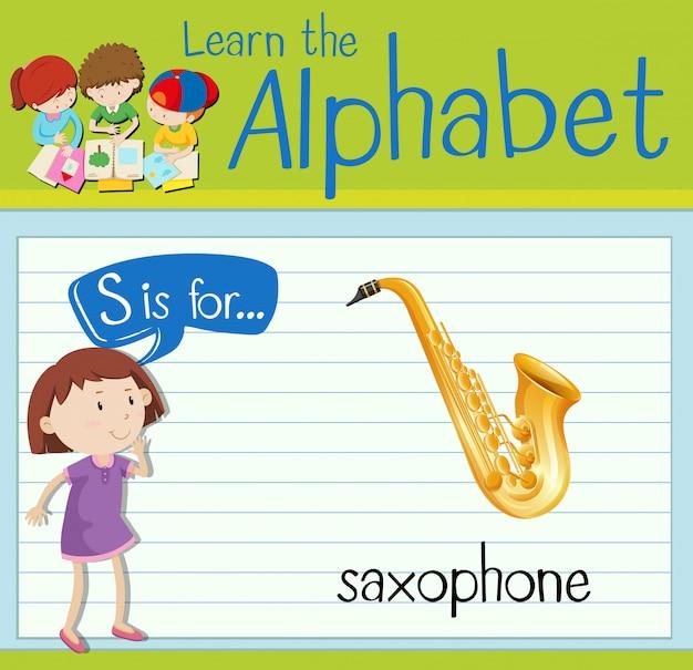 Flashcard buchstabe s ist für saxophon