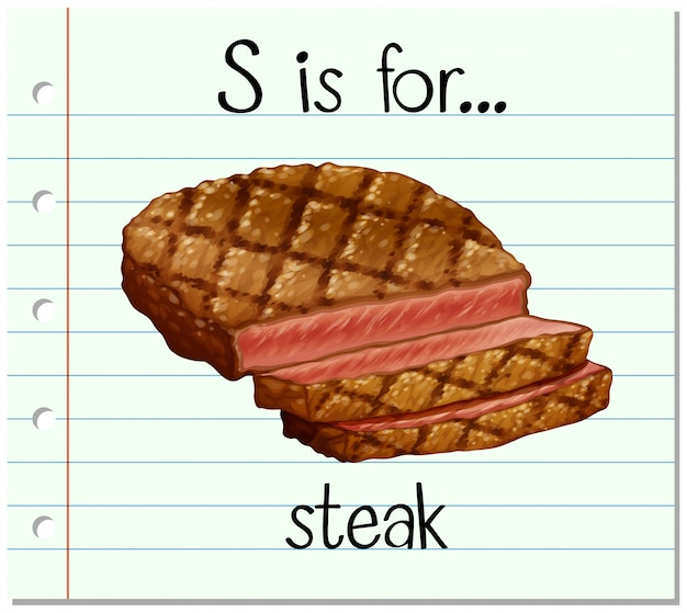 Flashcard buchstabe s ist für steak