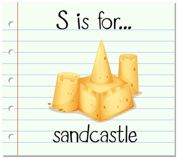 Flashcard-buchstabe s steht für sandburg