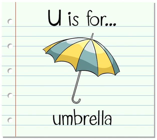 Flashcard buchstabe u ist für regenschirm