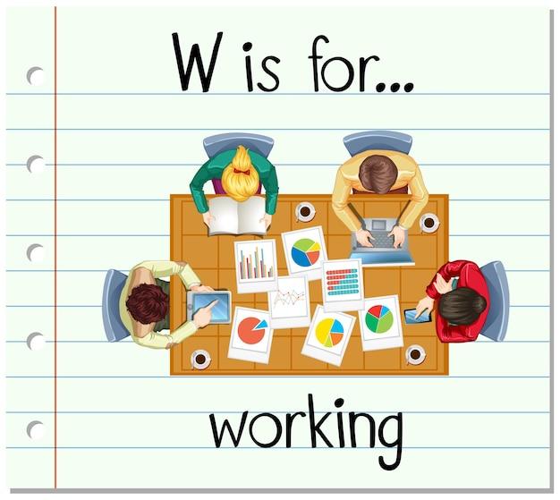 Flashcard buchstabe w ist zum arbeiten