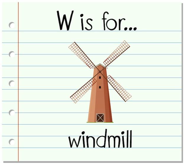 Flashcard-buchstabe w steht für windmühle