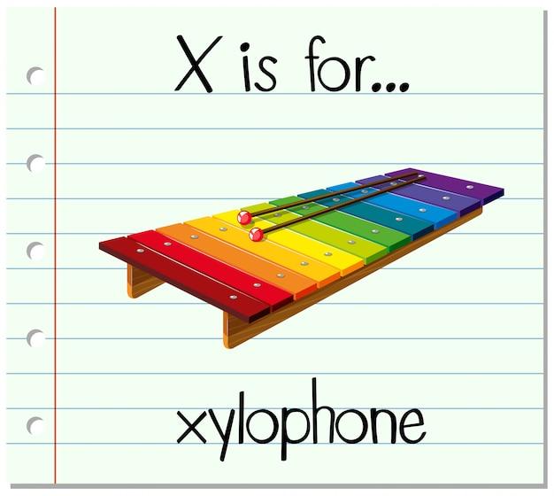 Flashcard buchstabe x ist für xylophon
