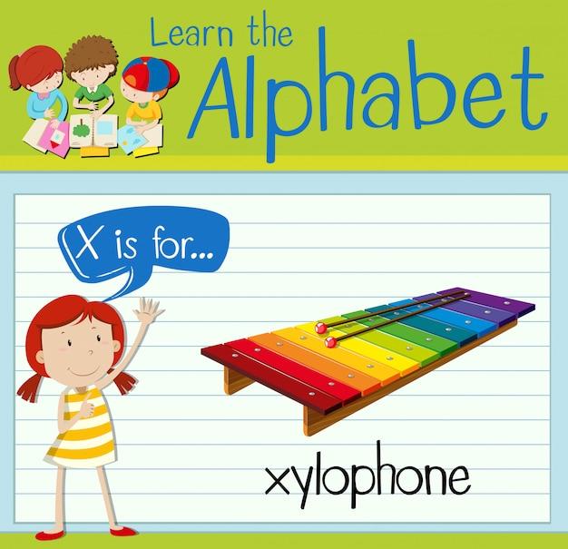 Flashcard-buchstabe x steht für xylophon