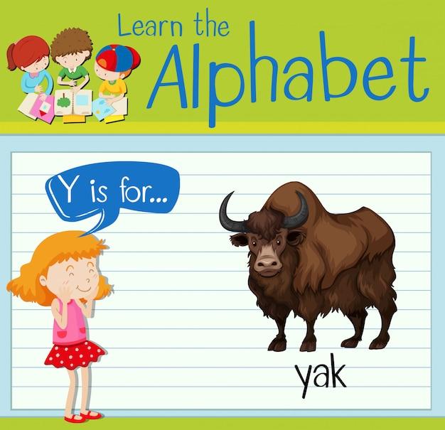 Flashcard buchstabe y ist für yak