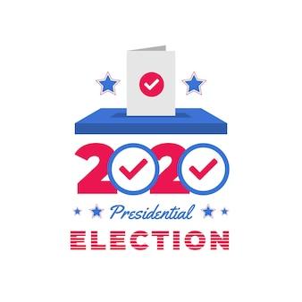 Flat 2020 uns präsidentschaftswahl stimmzettel in box