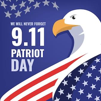 Flat 9.11 patriot day illustration Premium Vektoren