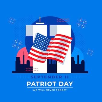 Flat 9.11 patriot day illustration