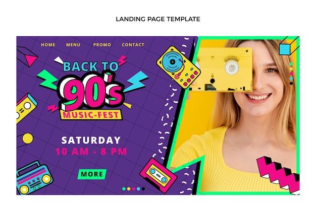 Flat 90er nostalgische musikfestival-landingpage