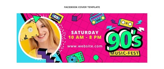 Flat 90er nostalgisches musikfestival facebook-cover