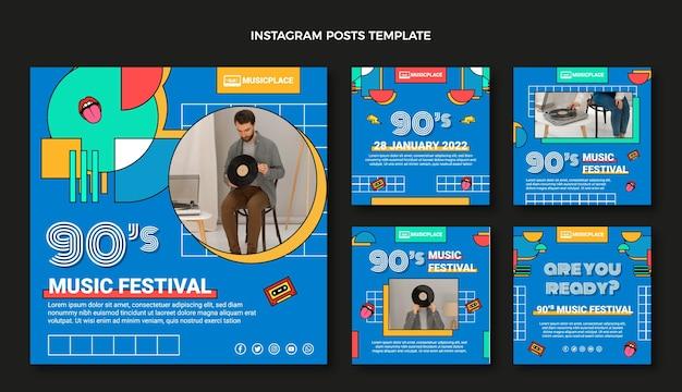 Flat 90s nostalgisches musikfestival instagram beiträge