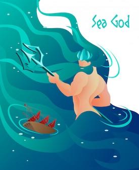 Flat ancient greek mythology ist geschriebener meeresgott.