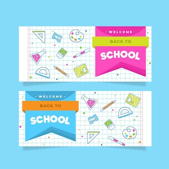 Flat back to school banner pack