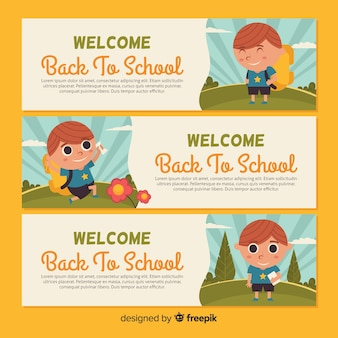 Flat back to school banner