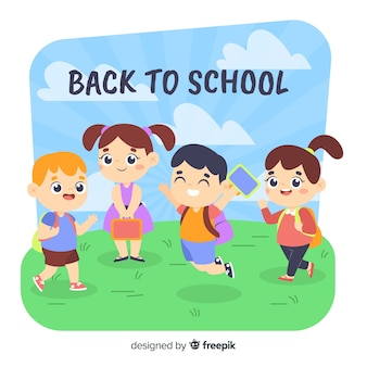 Flat back to school children