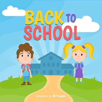 Flat back to school hintergrund