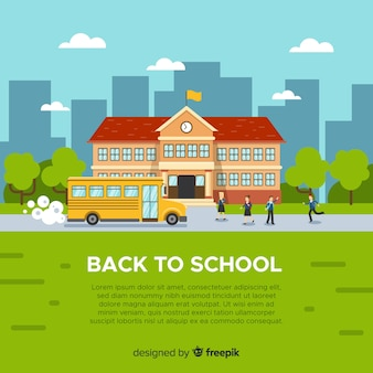Flat back to school hintergrund