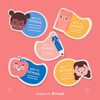 Flat back to school label collection