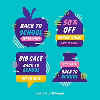 Flat back to school sales labels collection