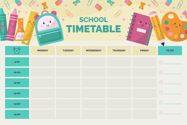 Flat back to school stundenplanvorlage