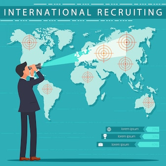 Flat banner internationaler rekrutierungsservice.