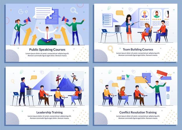 Flat banner set für business und selbstentwicklung