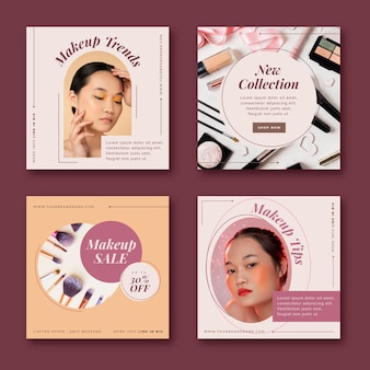 Flat beauty instagram post collection