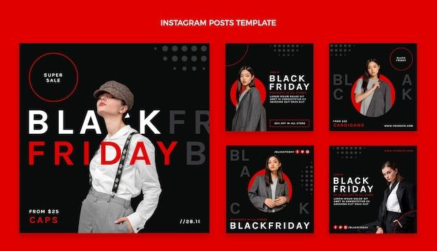 Flat black friday instagram posts sammlung