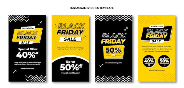 Flat black friday instagram story collection
