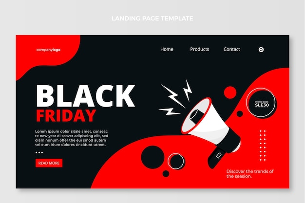 Flat black friday-landingpage-vorlage