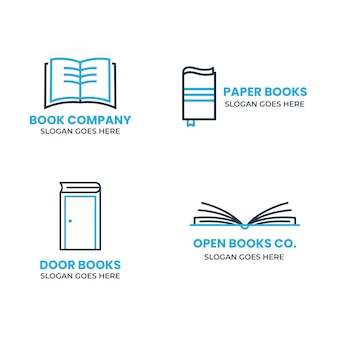 Flat book logo pack