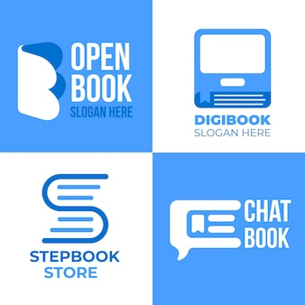 Flat book logo set