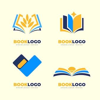 Flat book logo template sammlung