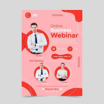 Flat business webinar a5 flyer vorlage