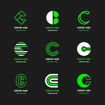 Flat c logo template pack