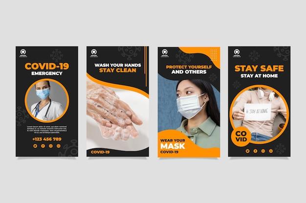 Flat coronavirus instagram story pack