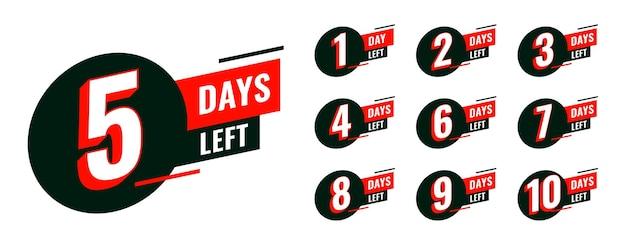 Flat-countdown-timer mit anzahl der verbleibenden tage